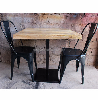 Cheaper Industrial Hotel Solid Surface Dining Room Table Cafe Cast Iron Metal Base