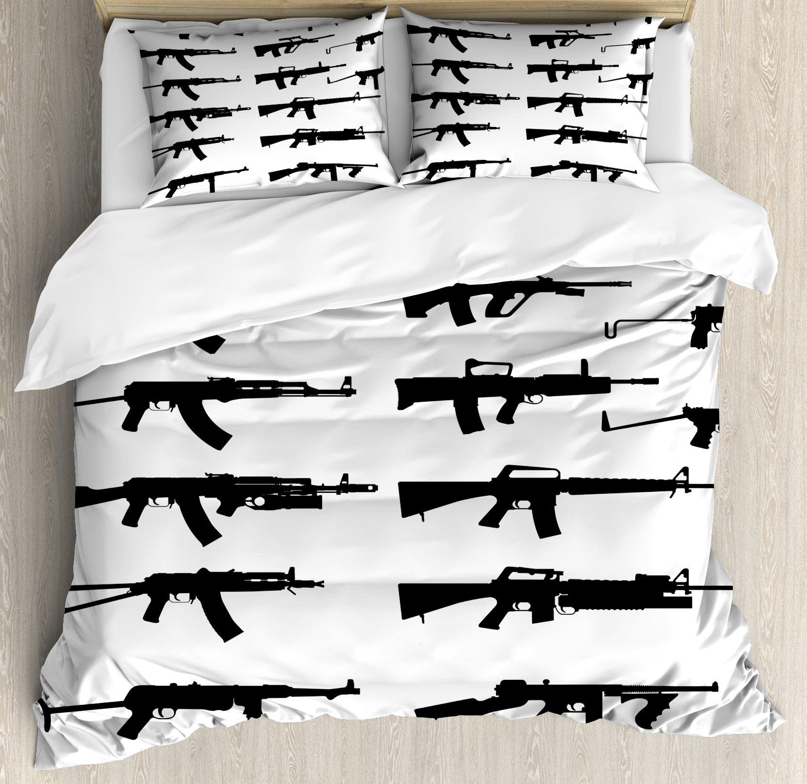 Military Duvet Cover Set King Size by Ambesonne, Silhouette of Various Size Guns Weapons Pistols Revolvers War Army Power Concept, Decorative 3 Piece Bedding Set with 2 Pillow Shams, Black White