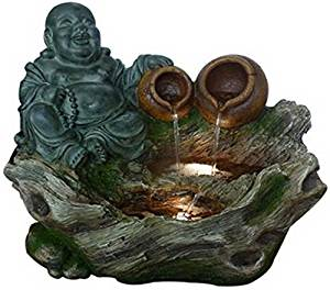 Hi-Line Gift Ltd Fountain-Buddha Sitting with 2 Pouring Jugs & LED, Multi