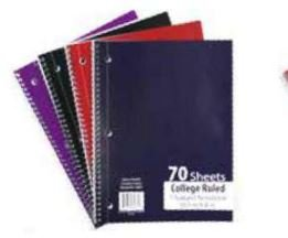 Emraw Single Subject Notebook Spiral with 70 Sheets of College Ruled White Paper - Set Includes: Red, Black, Purple, & Blue Covers (4 Pack)