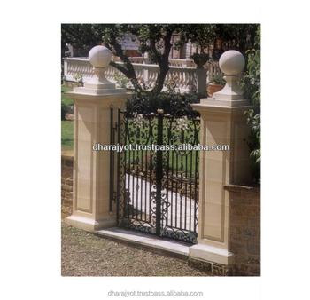 Yellow Entrance Gate Decorative Pillars