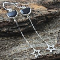 Star bail 925 Sterling silver black onyx gemstone earring jewelry wholesale fashion silver earring