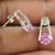 Glittering pink cz gemstone stud earring 925 sterling silver jewelry exporter jaipur