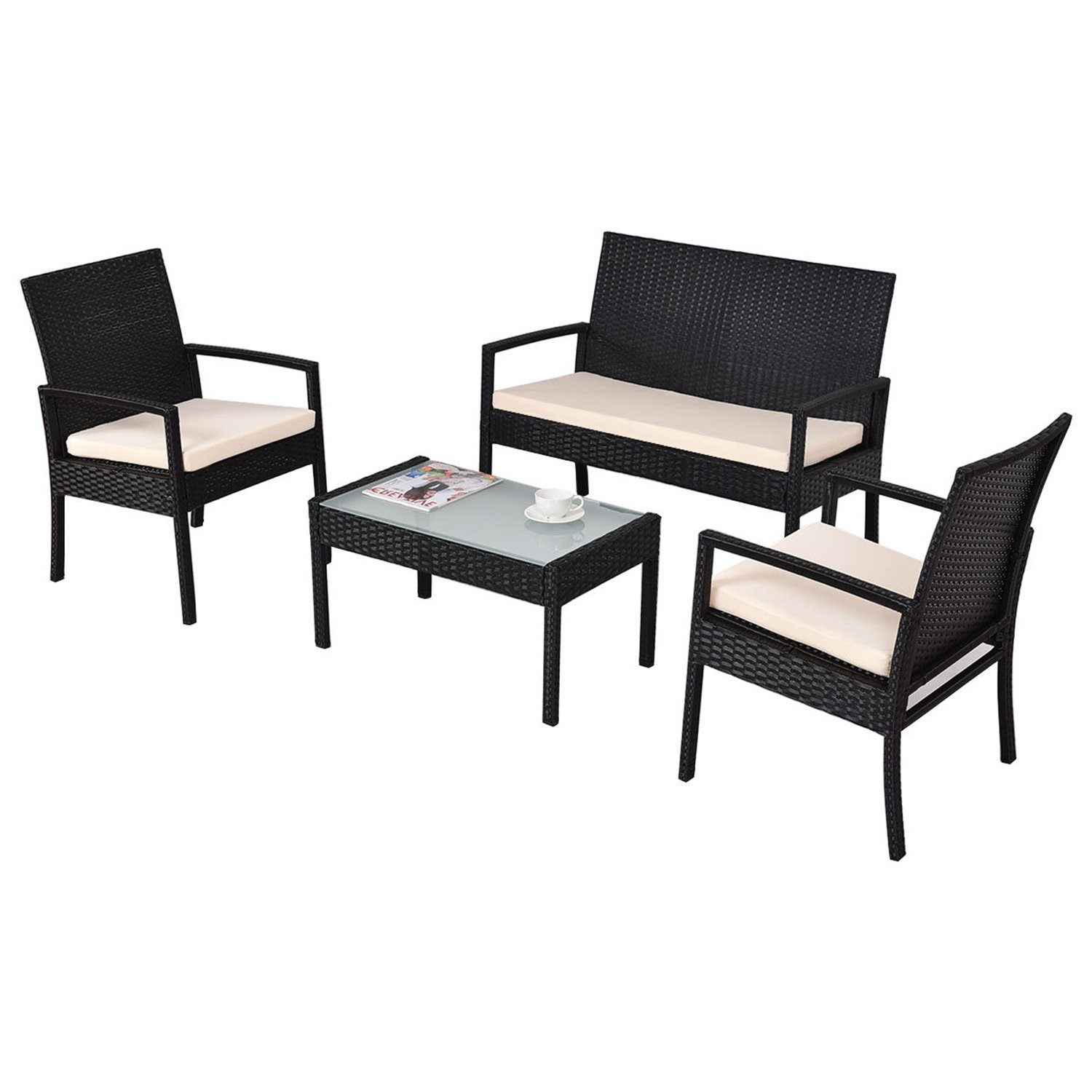 Outdoor Patio Furniture Set Cushioned 4 Pieces Wicker Patio Set Table, Two Chairs and a Loveseat Black Finish and White Cushions Outdoor Furniture Lawn Rattan Garden Set