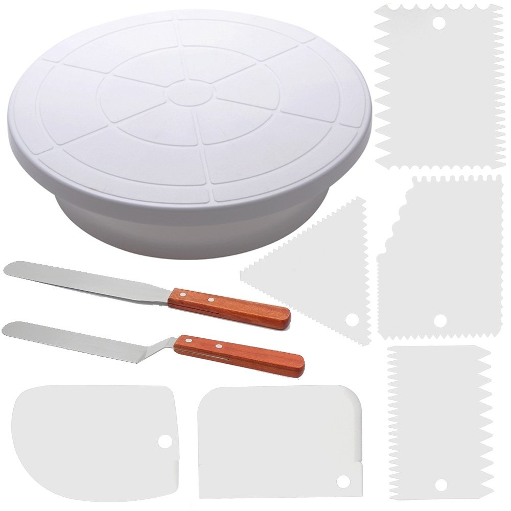 Cake Decorating Turntable - Baking Supplies Set - 11 Inch Rotating Cake Turntable With 2 Icing Spatula And 6 Frosting Smoother - Cake Decorating Supplies Kit - Revolving Cake Stand White