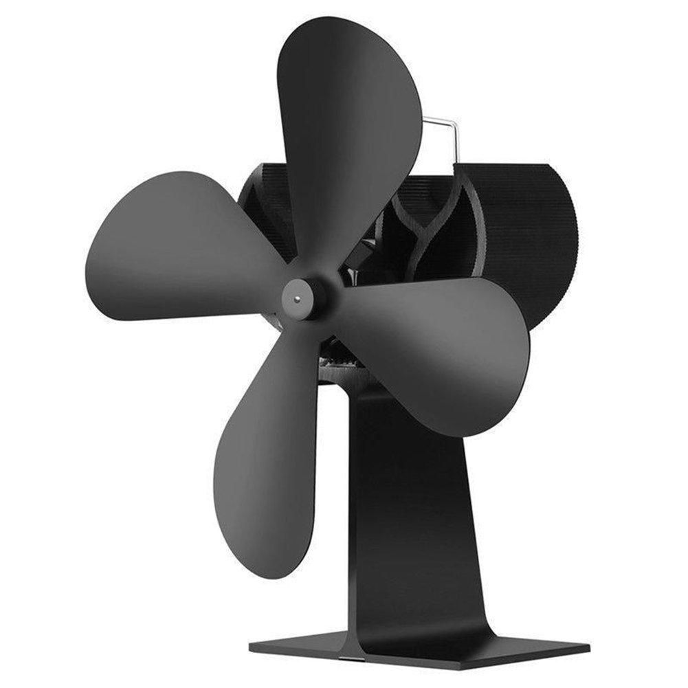 Maikerry Wood Stove Fan Fireplace Fan Heat Powered Stove Fan Eco-friendly Stove Fan Black