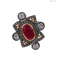 925 Sterling Silver Gemstone Ring Rose Cut Diamond Ruby Ring Jewelry