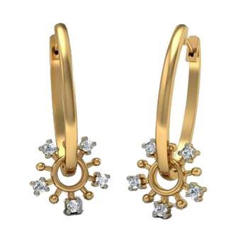 1bcf6e6e4dd5 Ronda brillante corte de diamantes reales diseñador pendiente de aro de oro  amarillo
