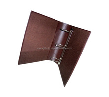 Perfect A4 A5 PU leather 3 6 metal clip ring binder / custom logo printing ring binder
