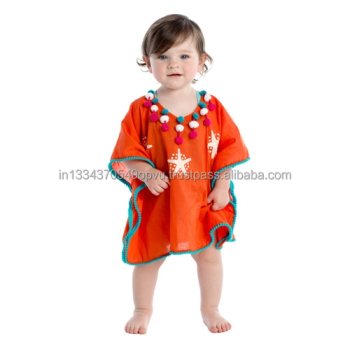 Bright Breathable Perfect Sunny Days Pom Pom Trim Star Fish Embroidered Cover Up For Girl Exclusive Neck Decoration Baby Kaftan