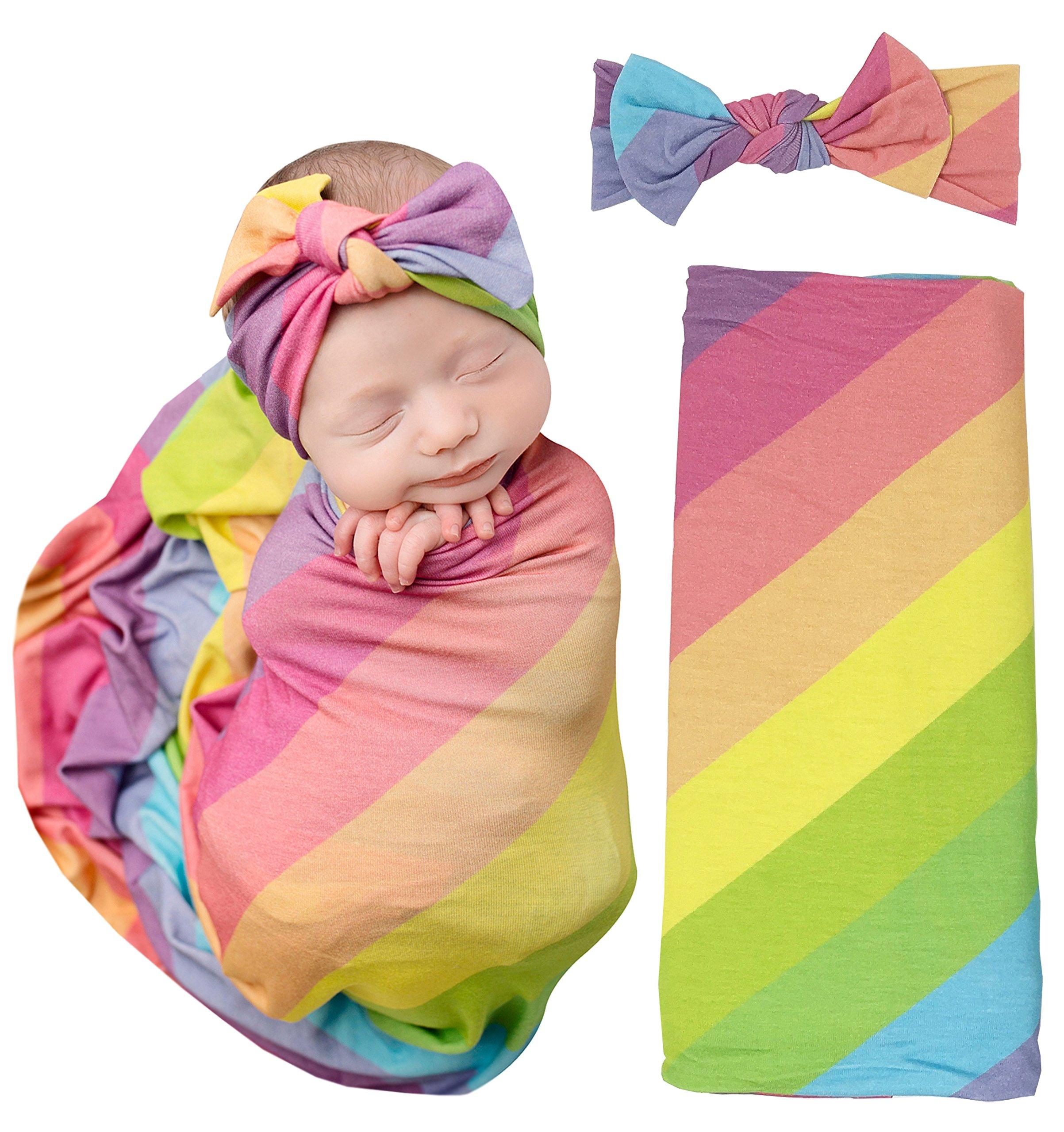 PoshPeanut Baby Swaddle Rainbow Blanket - Large Premium Knit Baby Swaddling Receiving Blanket And Headband Set, Baby Shower Newborn Gift (Magical) (Rainbow Stripes)