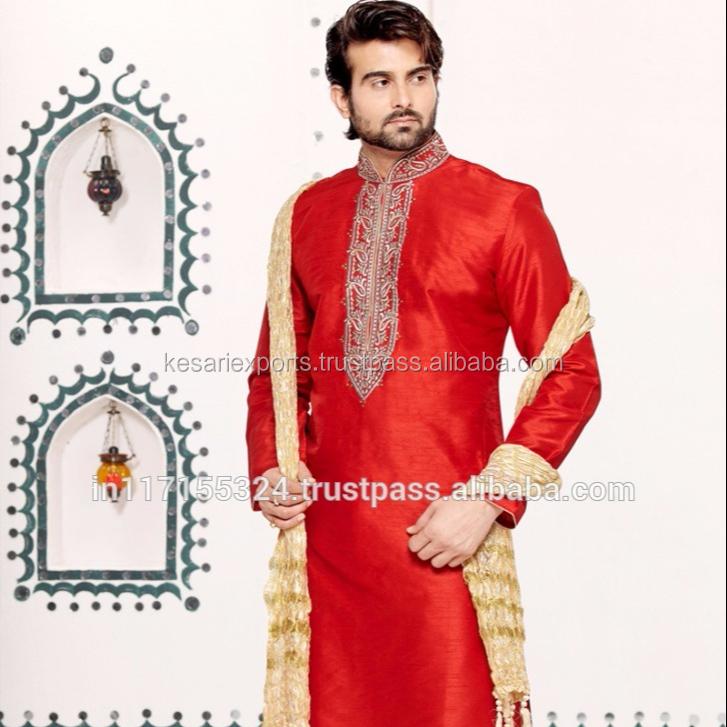 Indian Silk Men/'s Solid Kurta Pathani Pajama Suit Plus size Punjabi