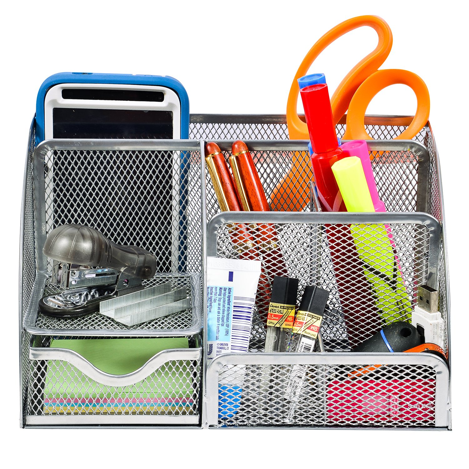 CoFads Desk Organizer Wire Mesh 6 Compartment Office Supplies Caddy With Additional Drawer, - Bonus Pack Of 100 Sticky Notes Included, Color Silver.