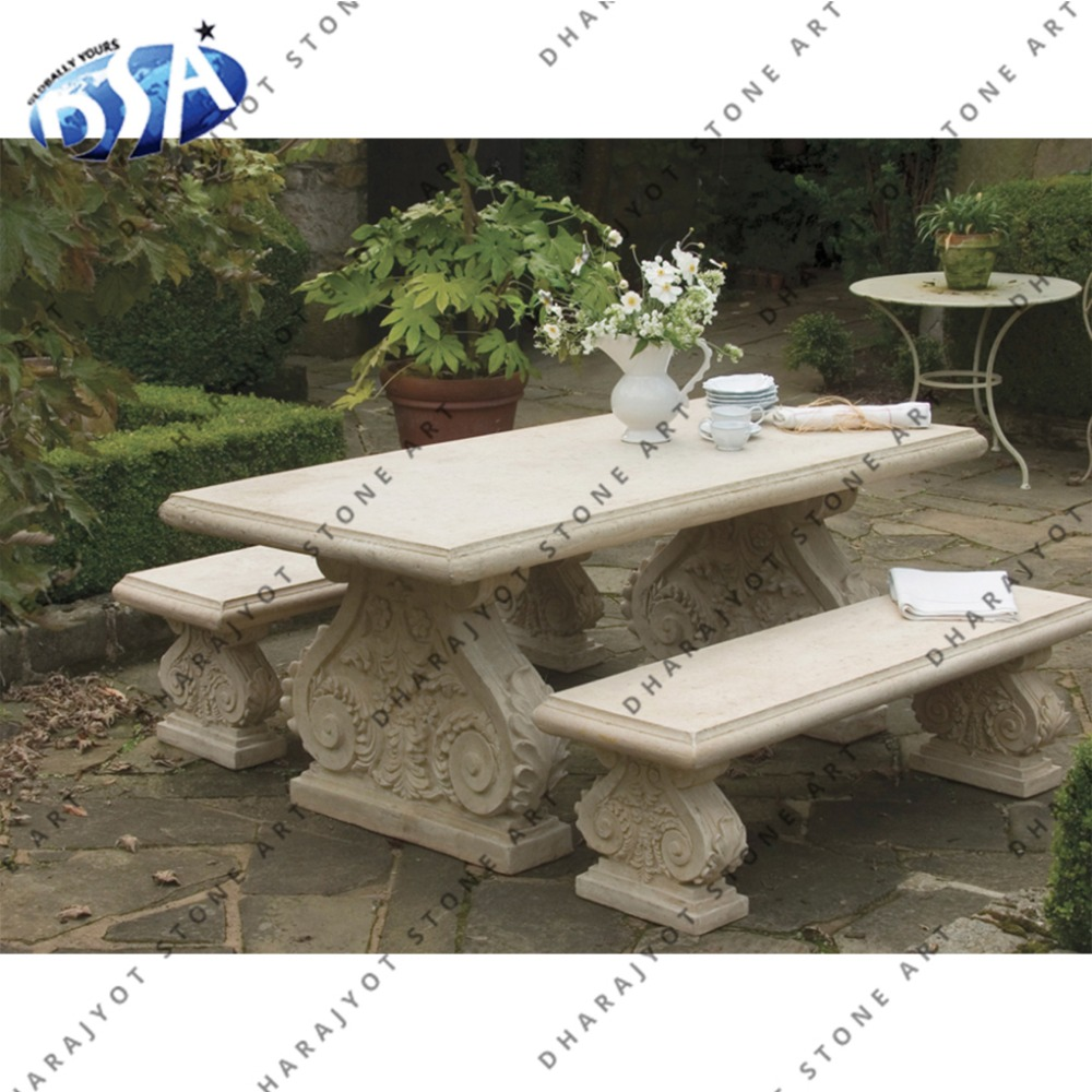 Hand Carved Cream Sandstone Garden Table And Bench - Buy Garden Furniture  Bench,Hand Carved Dining Table,Decorative Outdoor Benches Product on