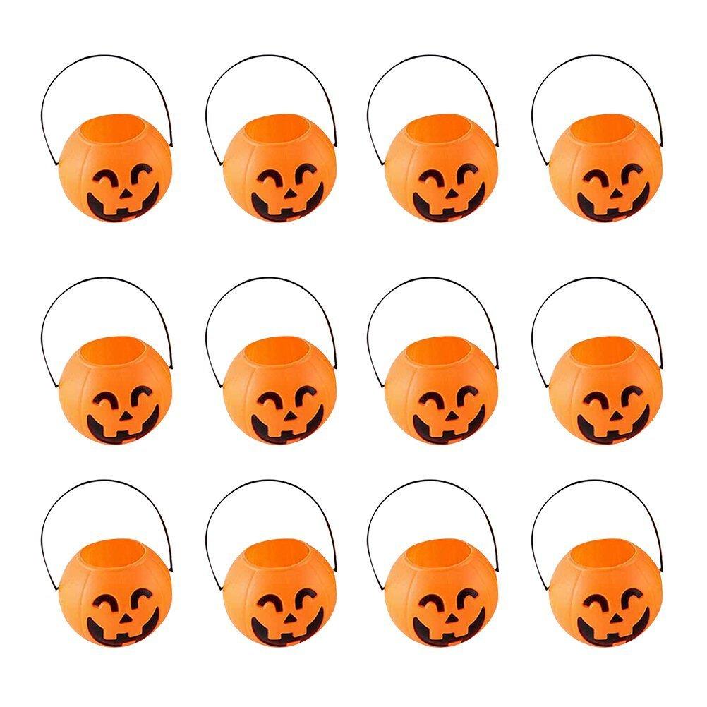 BESTOYARD 7cm Halloween Pumpkin Bucket Trick or Treat Pumpkin Candy Pail Holder Jar Mini Candy Goody Bag Buckets 12 PCS