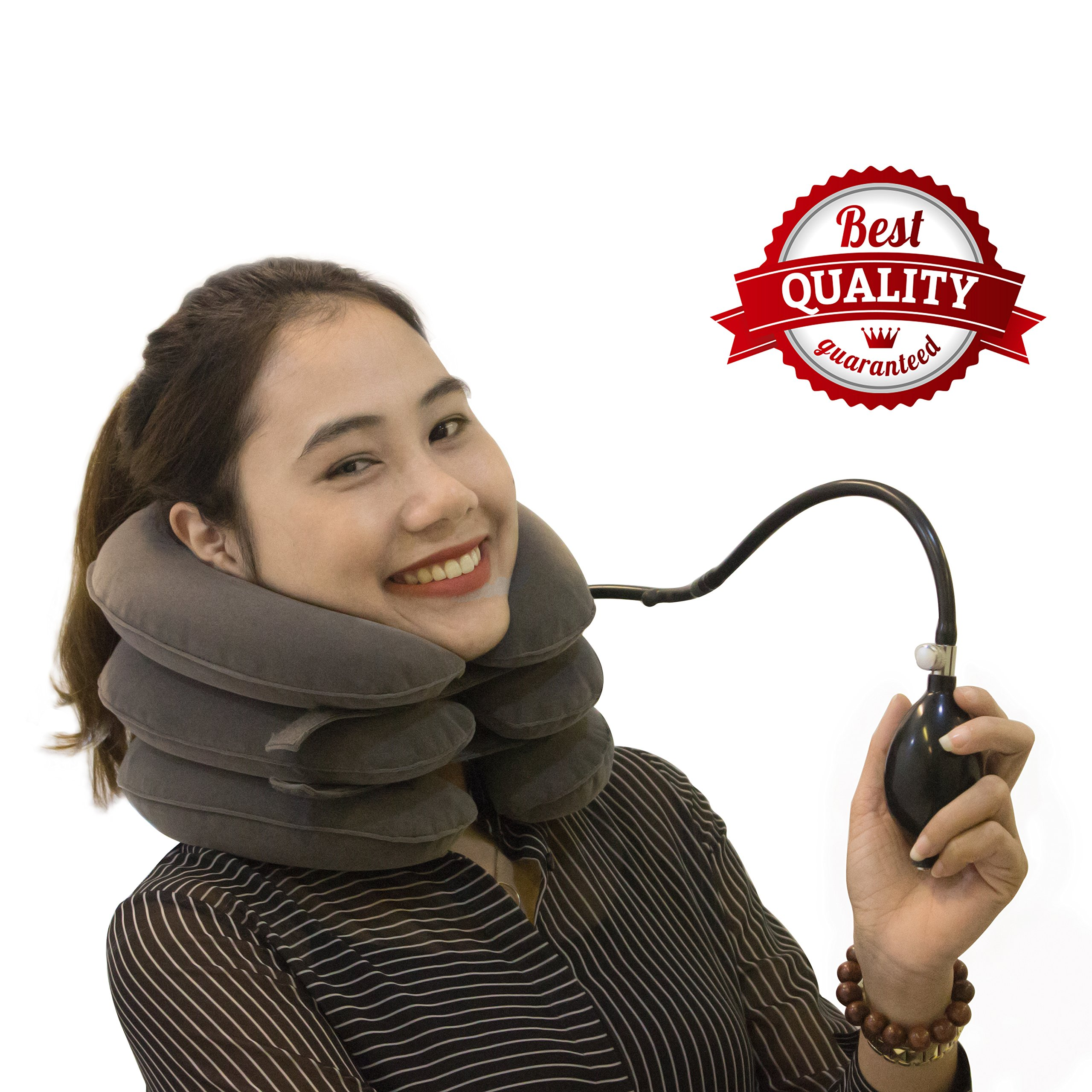 Cervical Neck Traction Device By SAULLA - Fixed Neck And Shoulders - frees up your neck pain| you will feel effective in the first use - especially effective with acute muscular pain