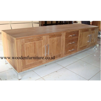 Teak Indoor Furniture Teak Cabinet Aluminium Legs Teak Minimalist Sideboard  Teak Wood Furniture Solid Teak Wood