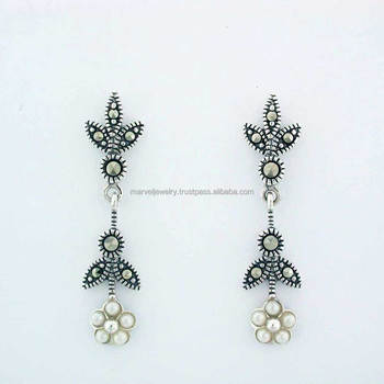 Pee 925 Sterling Silver Marcasite Earring With Fake Pearl