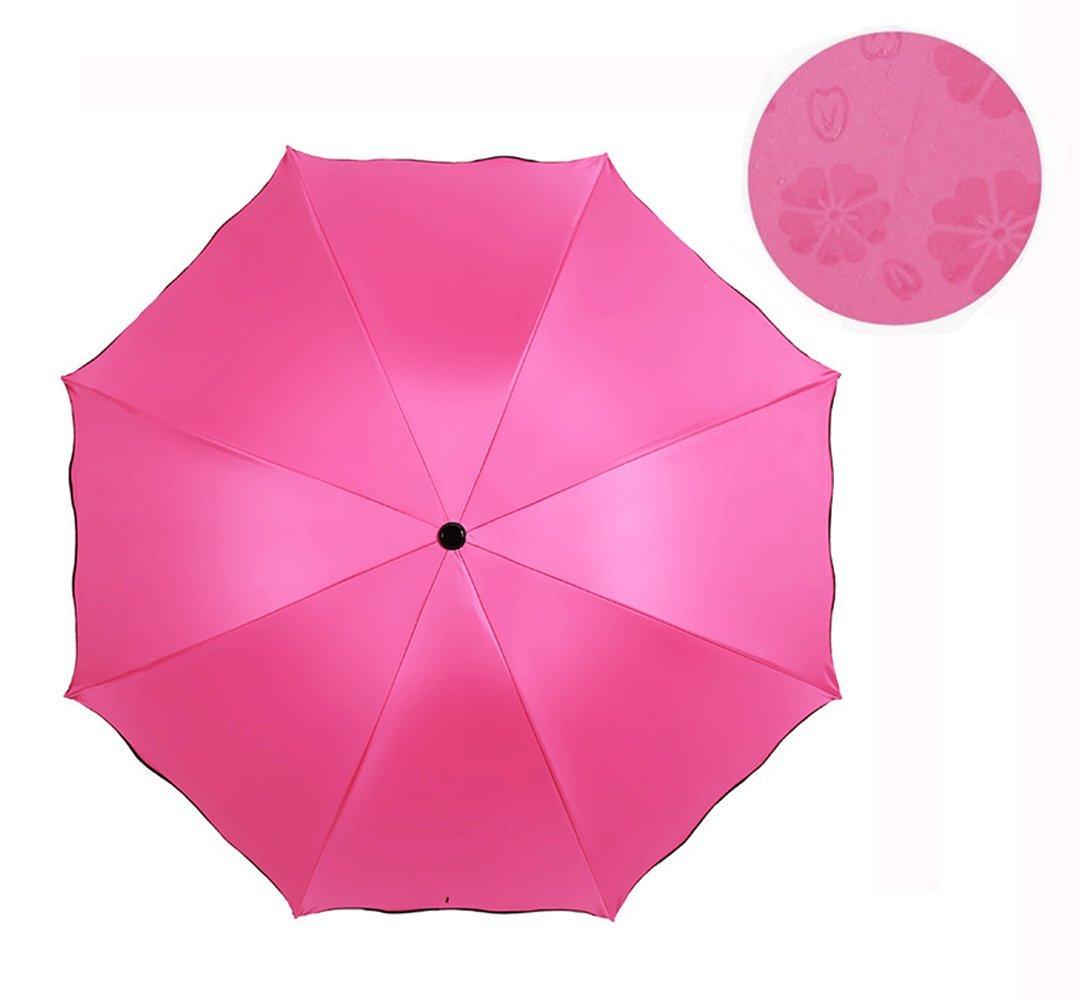 Household Merchandises Fashion Novelty Magic Discoloration Umbrella Three Folding Collapsible Pongee Uv Protection Sunny Umbrella Apollo Umbrella Rain Gear