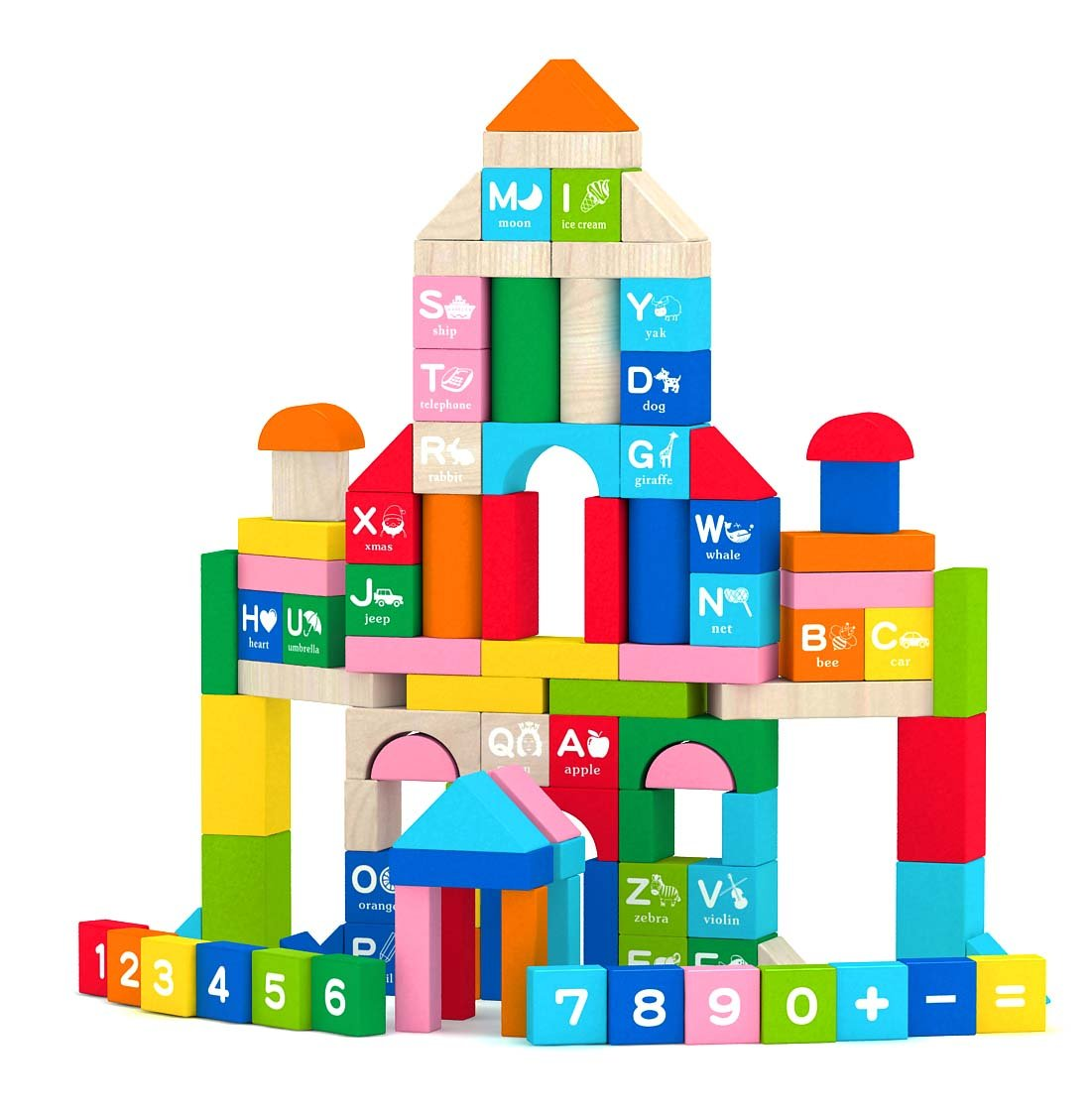 Joyin 100 Pieces Wooden Stacking Building Blocks Shape Color Sort Alphabet Number Wood Blocks Educational Toy Set in 8 Colors (Storage Bucket Included)
