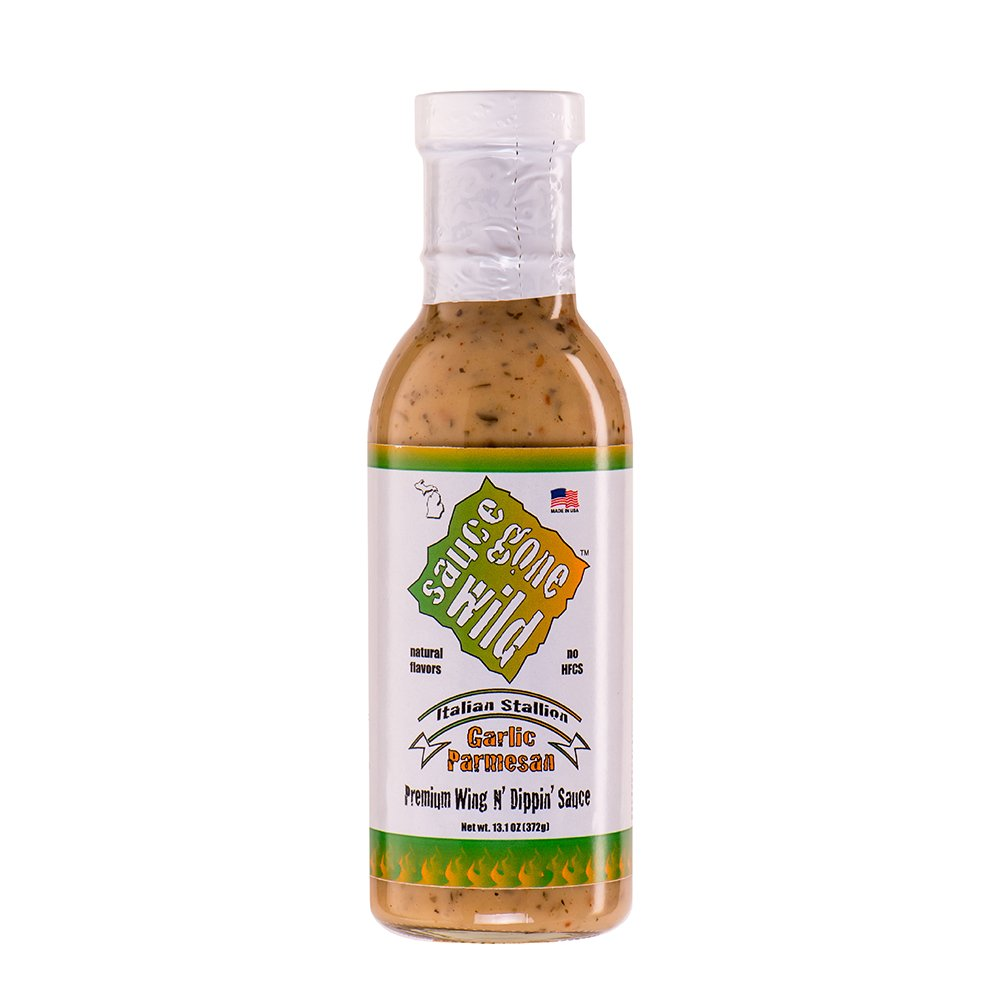 Sauce Gone Wild Wing Sauce -13.1oz - Garlic Parmesan Flavor - Hot Marinade for Grilling & Cooking Chicken - Made in USA - Tasty Restaurant Style Wings at Home