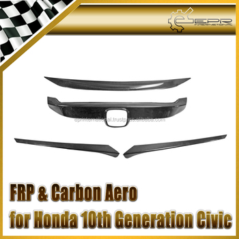 Carbon Front Grill Cover Stick on Type & eyelid For 10th Generation Civic FC