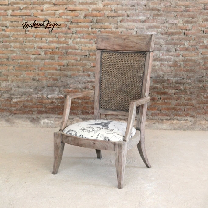 Antique Vintage Mahogany Living Room Chair with Armrest Indonesia Furniture