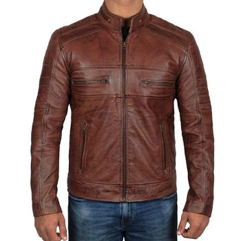 Men Brown Leather Biker Jacket Real Lamb Skin Leather jacket