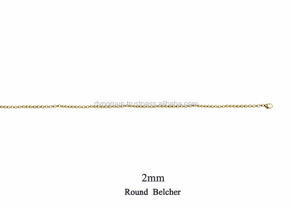 2 MM 14 kt Gold Plated Round Belcher Chain