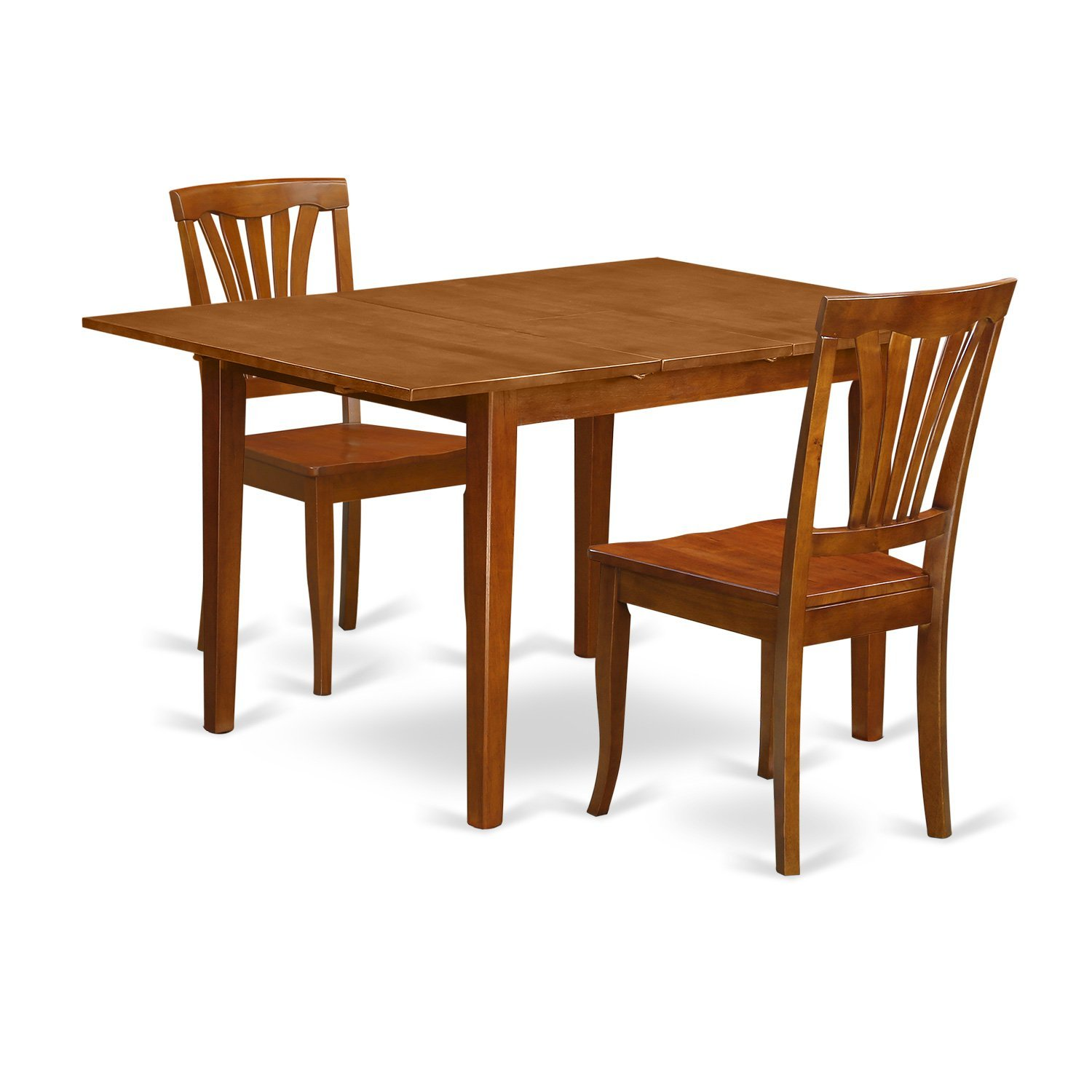 East West Furniture MLAV3-SBR-W 3 Piece Milan Kitchen Table Offering Leaf and 2 Solid Wood Kitchen Chairs in Saddle Brown