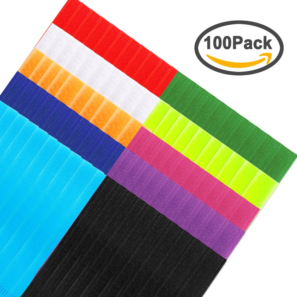 FASOTY 100 Pack Cable Ties - Reusable Fastening Cable Straps For Cord Wire Organizer Management, 10 Multi-Color