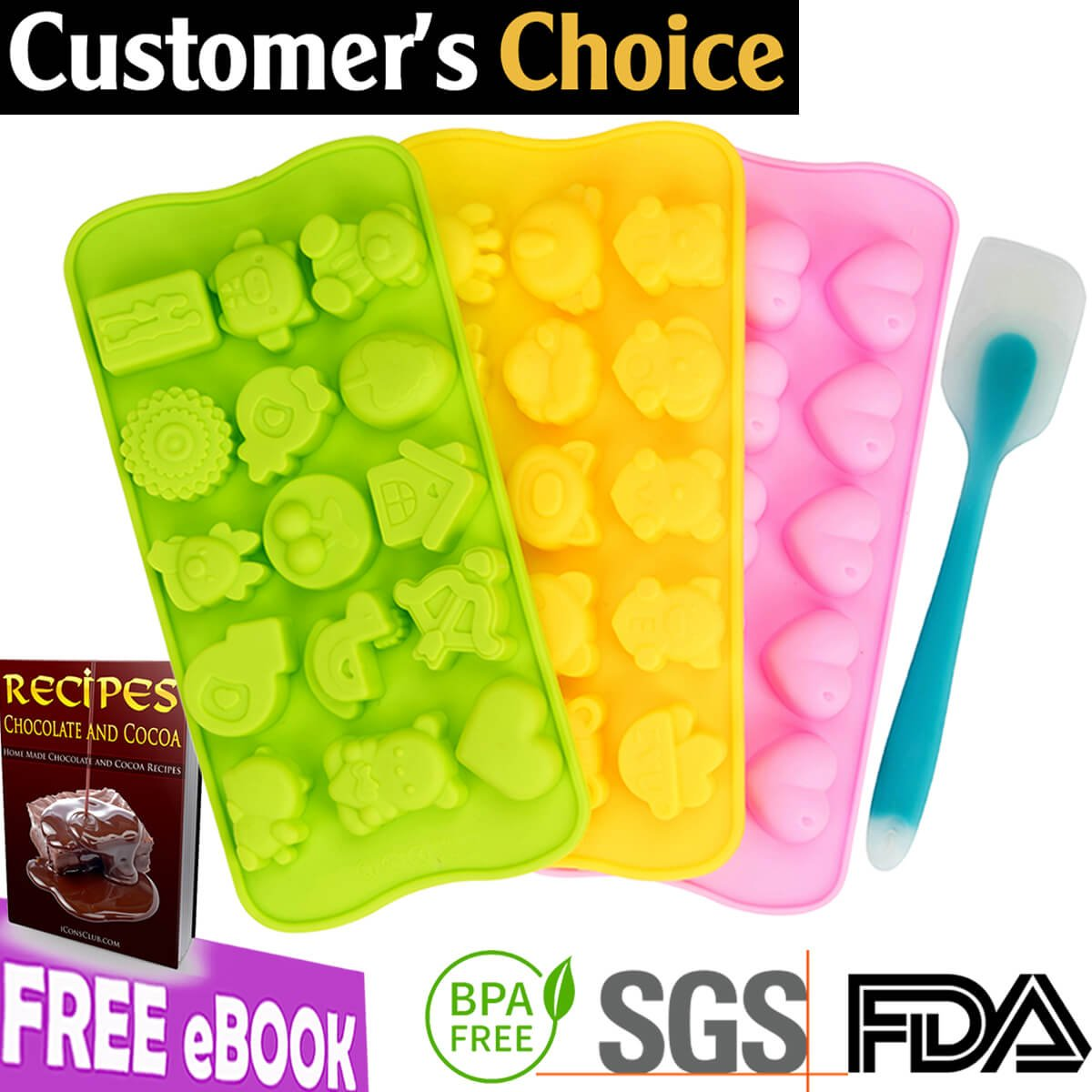 [FLASH SALE] Silicone Chocolate Candy Molds | Jelly Gummy Pudding Ice Cake Soap Ganache Baking Mold | Bonus eBOOK + Small Bags + Spatula | Non stick BPA free Professional Decorating | Many Cute Shapes