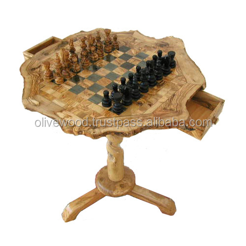 Olive Wood Coffee Chess Table