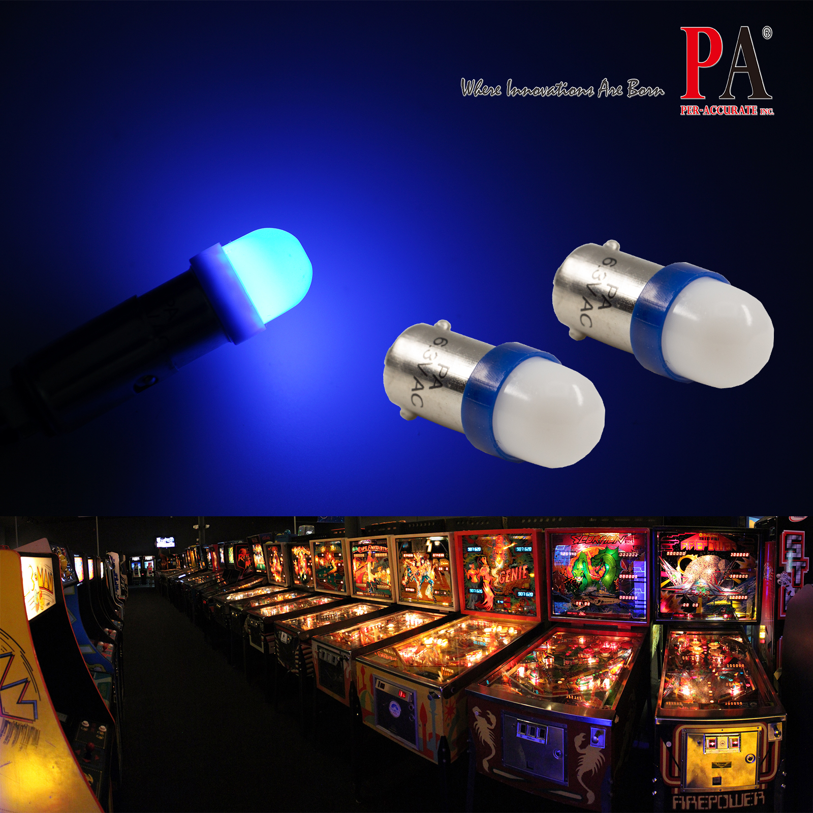 PA 2 SMD 2835 Ba9s #44 T4W 1445 wedge LED 6.3v for Pinball Gaming Machine(Blue)