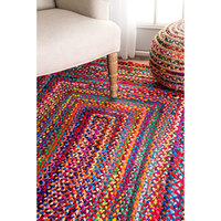 Indian dhurrie rugs carpets handmade living room decor braided cotton rug