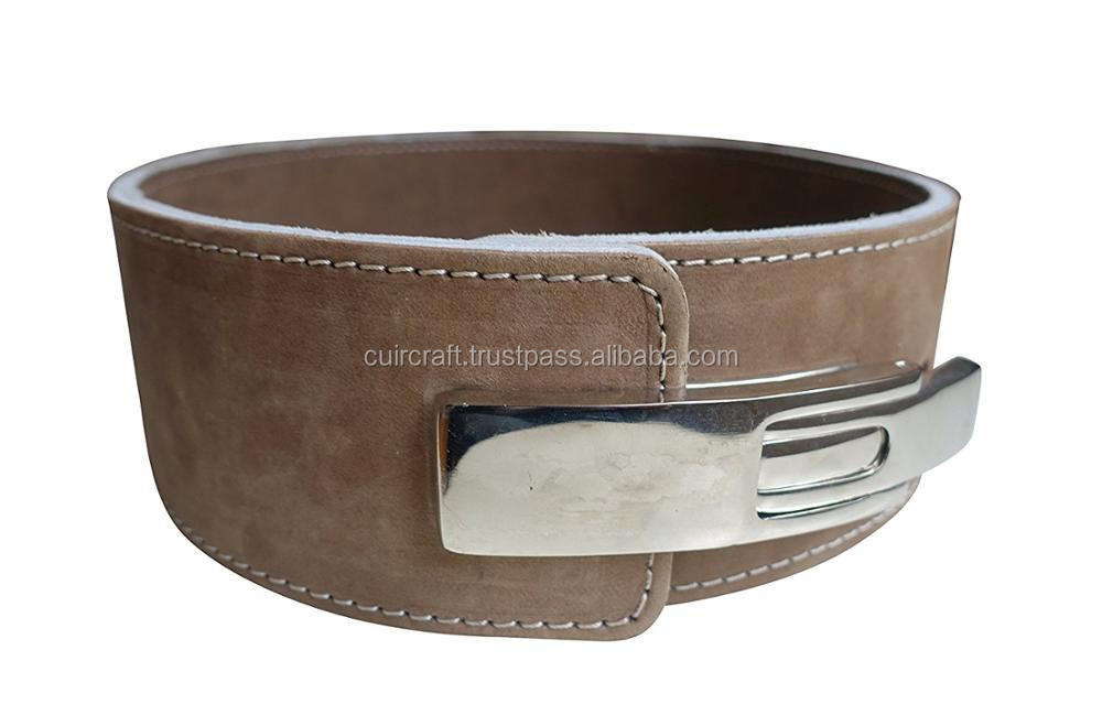 Custom Colors power weightlifting Natural leather belt / TRAINING GYM BELT