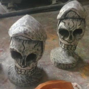 Gothic skeleton carving wood wooden skull grim reaper death