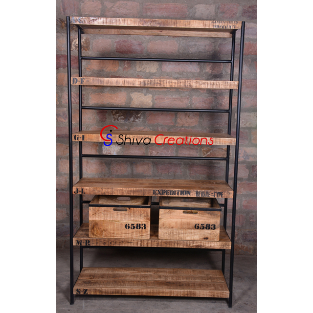 Rustic Metal Wood Bookshelf Antiqued Vintage Industrial Shelves Storage Bookcase