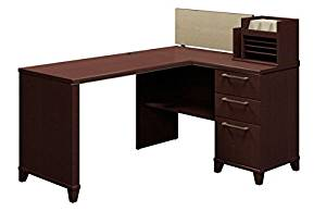 "Bush 60"" Corner Office Desk 60""W X 47 1/8""D X 41 3/4""H (Desk Height 29 3/4"") Surface Depth, Main Desk: 23 1/8""D, Area With Organizer: 18""D - Mocha Cherry"