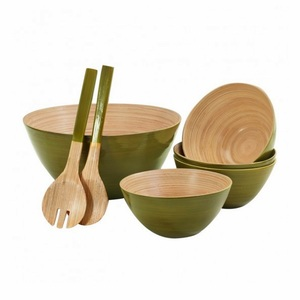 Spun bambo salad bowl set 100% handmade best seller bowl with spoons high quantity