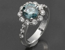 Certified 1.20TCW Real Natural Blue Diamond Engagement Ring 14k solid White Gold