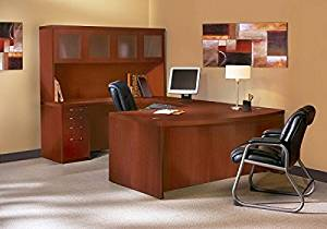 "Mayline U Shaped Desk W/Hutch 72""W X 114""D (Back Of Credenza To Front Of Desk) X 68 5/8""H Includes 1 5/8"" Work Surface, Glass Doors & Distinctive Fluted Edge - Cherry"
