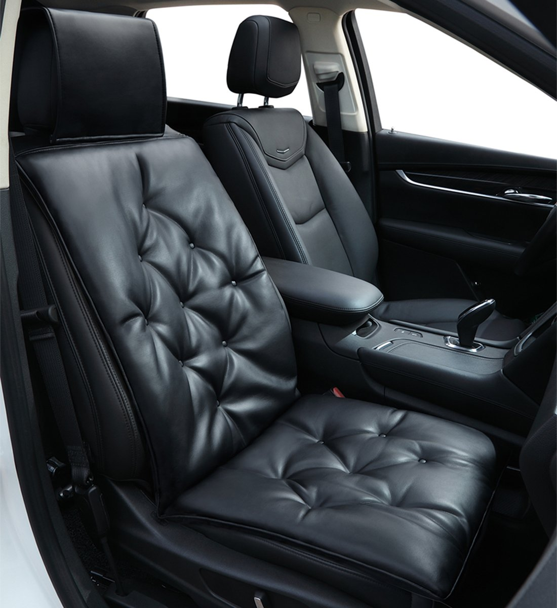 Big Ant Car Seat Cushion Breathable Car Interior Seat Cover Cushion Pad Mat for Auto Supplies Office Chair with PU Leather Black-2PCS
