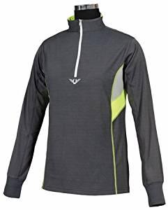 TuffRider Women's Neon Ventilated Mock Zip Long Sleeve Sport Shirt |Charcoal/NeonPeach - Size-X-Large