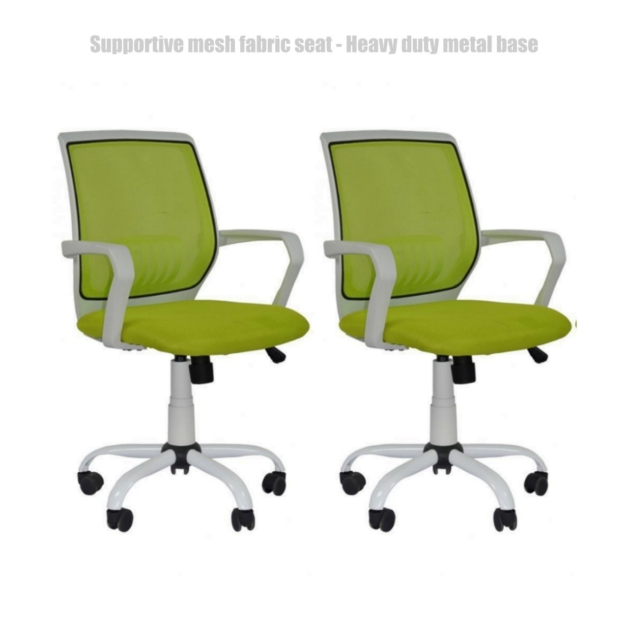 Modern Office Desk Task Chair Mid Back Design Breathable-Mesh-Fabric Comfortable Armrests Heavy Duty Metal Base Ergonomic Design Executive Chair - Set of 2 Green #1493