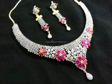 Crunchy Fashionable Pink Color Stone Gold Plated American Diamond Necklace Earrings Set