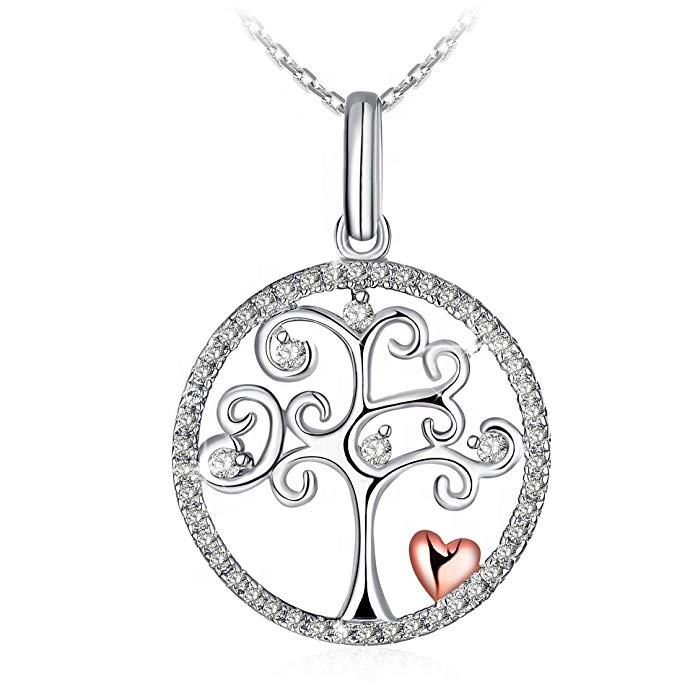 LOZRUNVE Cubic Zircon 925 Sterling Silver Heart Tree of Life Pendant Necklace
