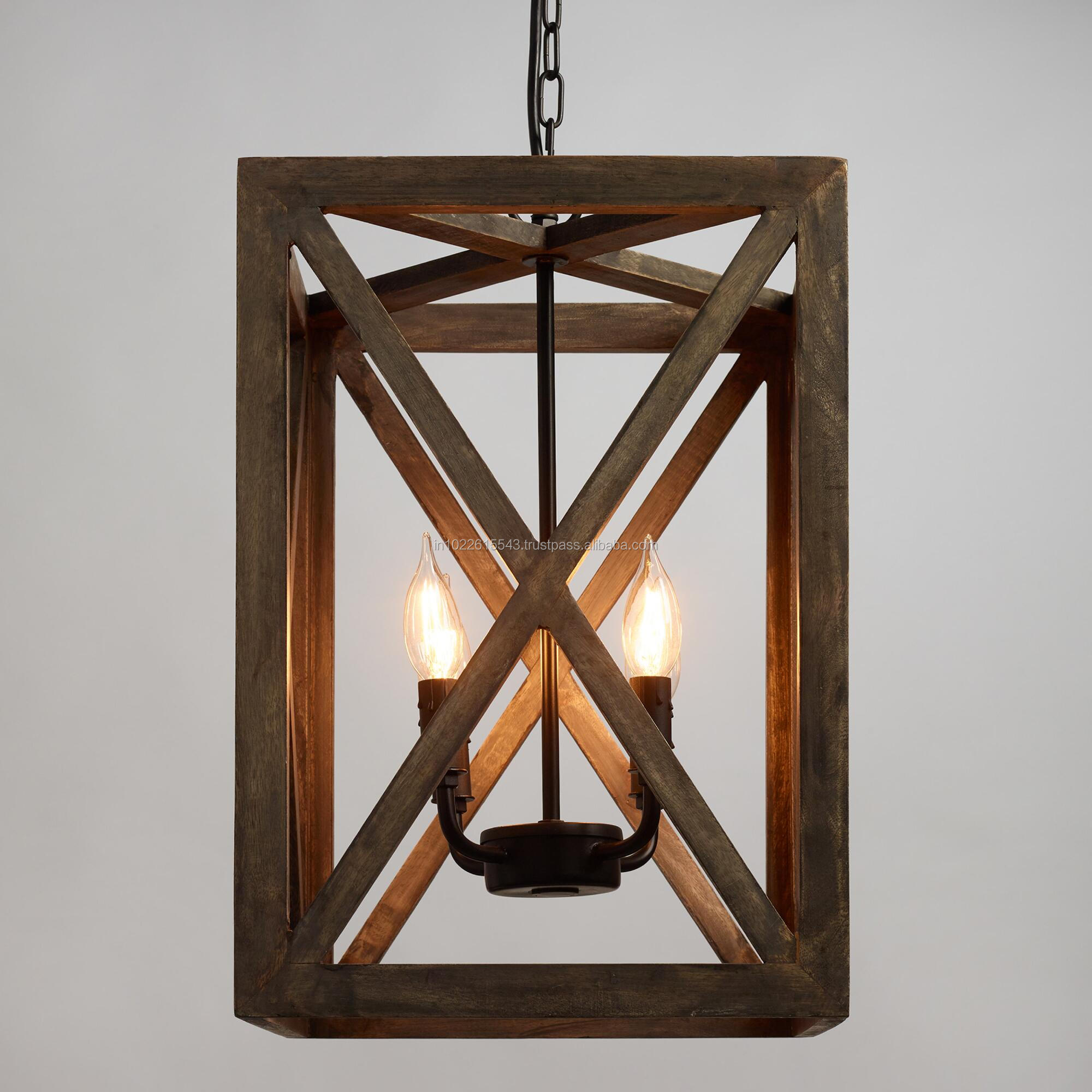 Industrial Wood Frame Drop Down Ceiling Lights. Vintage Mango Wood Ceiling  Lamp