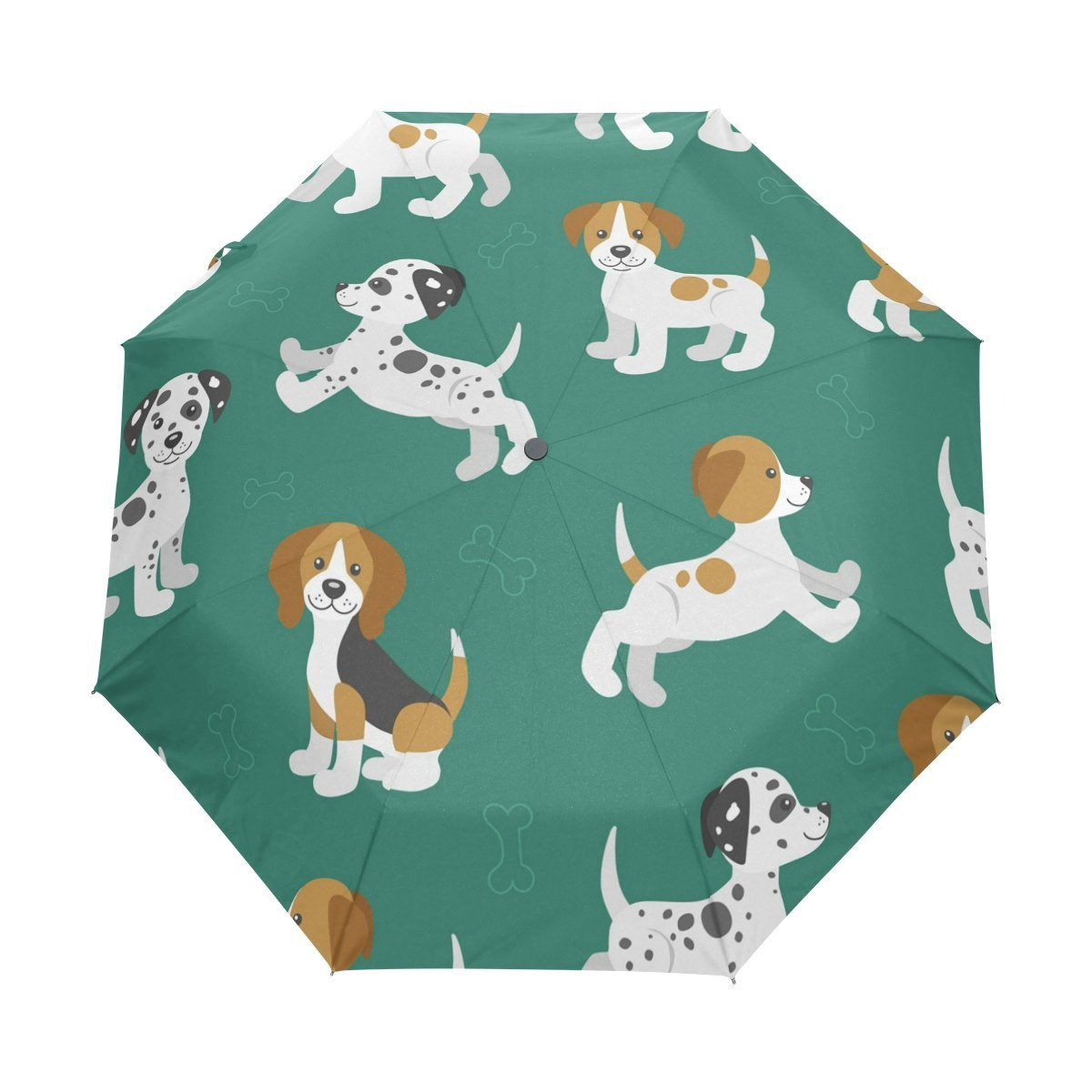 WOZO Cute Puppy Pug Dog 3 Folds Auto Open Close Umbrella
