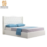 Modern appearance bedroom furniture white button headboard pu leather bed